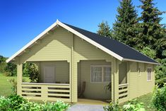 Imagine living in your very own log cabin design. The Europa is a beautifully crafted 792 square foo . Prefab Log Cabins, Prefab Garages, Wood Windows, Windows And Doors, Cottage Kits, Solid Core Interior Doors, Cabin Loft, Log Cabin Kits, Backyard Buildings