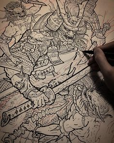 "3,438 Likes, 32 Comments - Tony Hu (@tonyhu_chronicink) on Instagram: ""Samurai and demons pen drawing @inkworkshops . Anyone ready for this piece yet? """