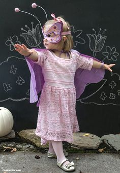 DIY No-Sew Butterfly Costume. Our cute little butterflye is ready to flutter through any garden or Halloween party and will definitely cast a happy spell on all on-lookers.