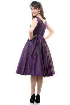 QUEEN OF HEARTZ 1950's Style Plum Cotton Sateen Scallop Brenda Swing Dress - Unique Vintage - Prom dresses, retro dresses, retro swimsuits.