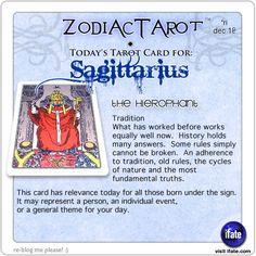Zodiac Tarot for December 18: Sagittarius <br>  http://ifate.com
