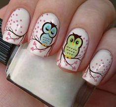 Having short nails is extremely practical. The problem is so many nail art and manicure designs that you'll find online Owl Nail Art, Owl Nails, Animal Nail Art, Great Nails, Fabulous Nails, Gorgeous Nails, Cute Nails, Owl Nail Designs, Nails For Kids