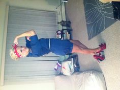 """My homemade Halloween costume ! Rosie the Riveter :) best one yet!  One piece blue """"jumpsuit"""" : Ragstock (I cut the pants to a short length and rolled twice for a hem/completed look) Flags and stars iron on patches: Michaels/JoAnn fabric Shoes: Forever21 Red Polka dot bandana: JoAnn fabric  Cost: $35"""
