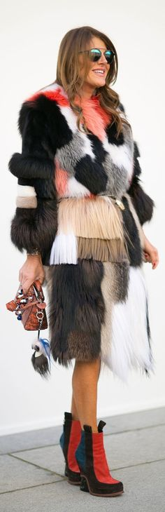 Paris Fashion Week street style: Anna Dello Russo wearing a patchwork coat