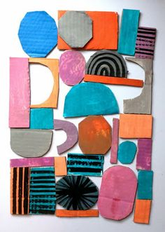 Marcus Oakley: Shapes & Colour, Black Patterns on Brightly Painted Cardboard Shapes , Collages, Arte Elemental, Art Du Collage, Motifs Textiles, Affinity Photo, Cardboard Art, The Design Files, Art Plastique, Teaching Art