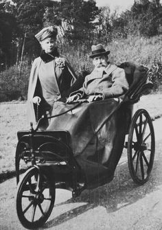 Photograph of King George V and Queen Mary at Bognor, during the King's first drive after his illness in March of 1929