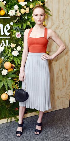 At a Ketel One event, Kate Bosworth kept things chic with a bright orange top tucked into pleated skirt. Black heels and a black bag completed her stylish look Star Fashion, Girl Fashion, Fashion Outfits, Rock Outfits, Emo Outfits, Punk Fashion, Lolita Fashion, School Outfits, Kate Bosworth Style
