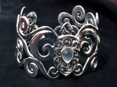 Wide Sterling Silver Swirl Turtle Cuff with Rainbow Moonstone