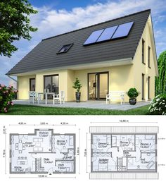Detached house New build classic with pitched roof Architecture amp; Bay extension Building house Ideas Floor plan Prefabricated house SH 160 XXL by ScanHaus Marlow Hau - - Affordable House Plans, Architectural Design House Plans, Simple House Design, Prefabricated Houses, Roof Architecture, A Frame House, Dream House Plans, House Ideas, Home Design Plans