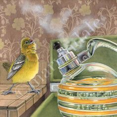 NEW 2014 Music Lessons (framed print from watercolour of female oriole singing along with a vintage boiling kettle by Cori Lee Marvin)