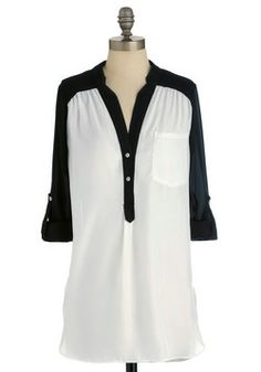 Pam Breeze-ly Tunic in Black and White, #ModCloth hahaha i have a shirt similar to this for half the price