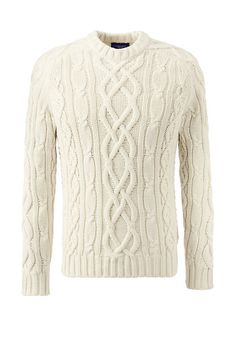 Men's Drifter Cotton Cable Crewneck Sweater from Lands' End