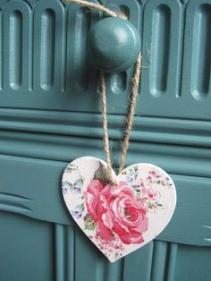 Cath Kidston Rose decoupaged wooden hanging heart by EmmyLeeHearts, $4.00
