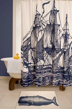 Ship Ink Shower Curtain