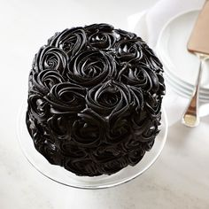 We Take the Cake Halloween Black Rose Red Velvet Cake Bright RED on the Inside / BLACK Roses on the Outside ...LOVE IT !!  #williamssonoma