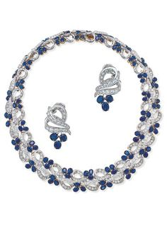 Garrard's - sapphire and diamonds set