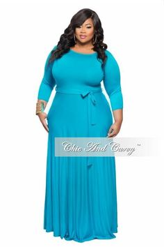 New Plus Size Long Dress with Sleeve and Tie in Turquoise Blue Fashionable Plus Size Clothing, Plus Size Fashion For Women, Plus Size Winter Outfits, Plus Size Outfits, African Print Dresses, African Fashion Dresses, Cena Formal, Plus Size Long Dresses, Plus Size Evening Gown