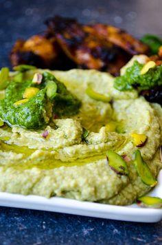 Pistachio Pesto Hummus | giverecipe.com | #hummus #dip #pesto #chickpeas