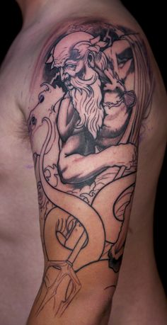Zach's Poseidon ½ sleeve first session outline -by Paco Dietz at Graven Image Tattoo