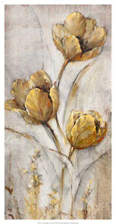 Golden Poppies on Taupe I Lámina