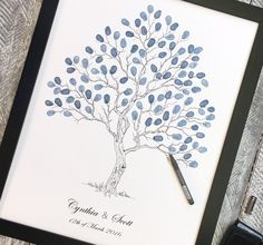 """Wedding Fingerprint Tree guest book A2 Size """"Twisted Tree"""" suit for 80-140 guests to add their signatures. Also available in other sizes."""