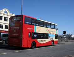 Brighton & Hove City double decker bus in The Old Steine (Brighton Pier in the background) Brighton Sussex, Brighton And Hove, Bus Route, Double Decker Bus, Busses, Travel Abroad, Transportation, Old Things, City