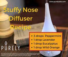 oil for stuffy nose Stuffy Nose Diffuser Recipe purely Chunky Nose Diffuser Recipe purely Stuffy Nose Essential Oils, Essential Oils For Colds, Essential Oil Diffuser Blends, Essential Oil Uses, Stuffy Nose Relief, Diffuser Recipes, Perfume, Doterra Oils, Doterra Blends