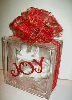 Blissful and Domestic- Thrifty Living, Homeschool, and Big Smiles: {Homemade in December} Christmas Glass Block