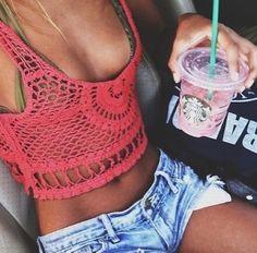 crochet top + bikini + jean shorts