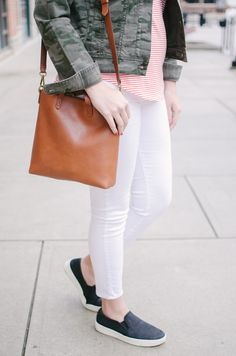 stripes and camo spring outfit - spring casual outfit   See more cute spring outfits at bylaurenm.com!