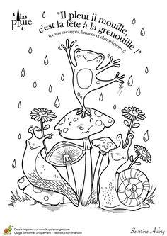 Dessin à colorier de petites bestioles qui adorent la pluie - Hugolescargot.com
