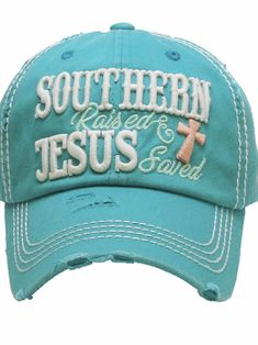 47362a8a448 Southern Raised Jesus Saved Distressed   Faded Hat   Cap