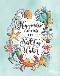 Happy Monday Quotes Discover Happiness Comes in Salty Water - Makewells Fine Art Print Lake Pictures, I Love The Beach, Beach Quotes, My Happy Place, Fine Art Paper, Illustration, Fine Art Prints, Doodles, Artsy