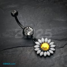 Blackline Daisy Marquise Flower Belly Button Ring by Belly Button Piercing Rings, Bellybutton Piercings, Belly Button Jewelry, Body Piercings, Belly Rings, Tongue Piercings, Rook Piercing, Nose Rings, Peircings