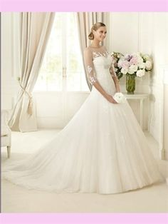 White Ball Beading Lace Tulle 2013 Wedding Dress AWD420188