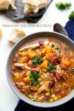 Crockpot Butternut Squash, Chicken, and Quinoa Soup Recipe on Yummly