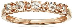 10k Rose Gold Morganite and Diamond Accented Stackable Ring, Size 7 * Click on the image for additional details.