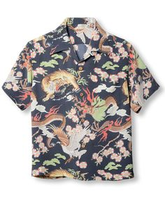 Style No. SS36424 (short sleeve) 「THE TRIANGULAR FIGHT」 119) BLACK Tiger fights Dragon fights Eagle. And it's rayon. Stunning. Funky Fashion, Vintage Fashion, Hawiian Shirts, Vintage Versace, Bohemian Style Clothing, Black Tigers, Bowling Shirts, Floral Print Shirt, Aloha Shirt