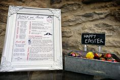 Picture frames are used to create a 'programme' of events for a relaxed English wedding