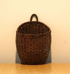 Hanging Wall Basket  Vintage  JV by Honeybrownvintage on Etsy, $23.00