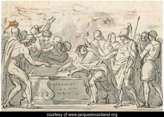 Sketch Of A Triumphal Procession, And A Study For The Figure Of Alexander - Jacques Louis David - www.jacqueslouisdavid.org