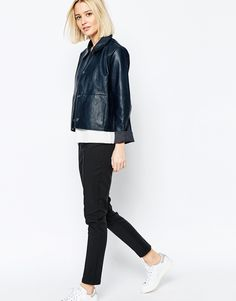 Image 4 of Weekday Button Front Leather Look Jacket With Collar