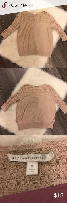 LC Lauren Conrad 3/4 Sleeve Nude Sweater Some piling around pit area. Size XL but shrunk to fit M or L. LC Lauren Conrad Sweaters