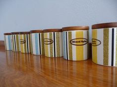 SPICE JARS - oh goodness, would love these! Cordon Bleu pattern number Seven pieces complete with wood tops and seals.
