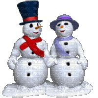 winter snowman pair kiss gif