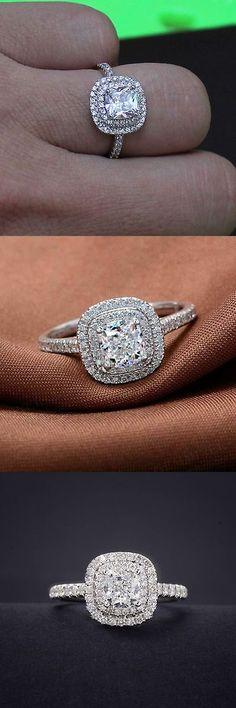 1.50 Ct Princesse Coupe Diamant Halo Bague de fiançailles 10K Or Blanc Finition
