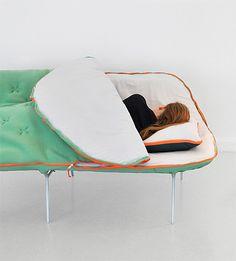 Sleeping Bag Sofa by Stephanie Hornig bag sofa, camp furnitur, sleep bag, sleeping bags, front doors, camps, furnitur design, basements, design idea