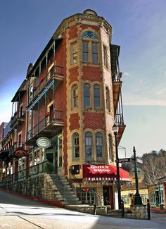"Spring Street and ""Flat Iron"" building in Eureka Springs, Arkansas."