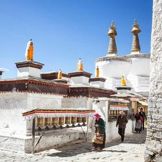 Tashilhunpo monastery Tibet founded in 1447 by the First Dalai Lama. During the Chinese Cultural Revolution 2/3rds of the buildings were destroyed and 5, 000 residents monks in Shigatse were executed, or committed suicide and large numbers were taken to labor camps. Only 200 monks remained.