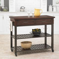 Home Styles Cabin Creek Kitchen Cart, Brown